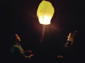 paper lantern in flight